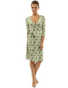 5e136ec54d PattyBoutik Women Faux Wrap A Line Dress (Green and Gray ... https