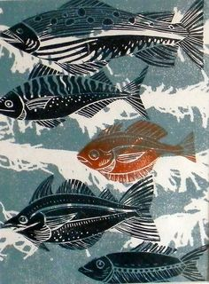 Fish Lino Print | Flickr: Intercambio de fotos.  I could see this as a cooperative project with a few middle or high students, sharing printing plates, creating art together, combining images.