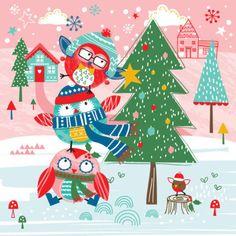 Sophie Webber - Sophie Webber Christmas Owl Tree Card