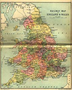 Railway map of England.