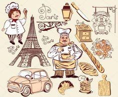 Коллекция символов Парижа. Рисование руки