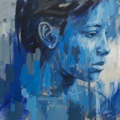 Portrait Painting-Lionel Smit - Contain, Oil on canvas, 120x120cm