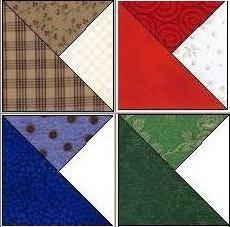 Split Quarter Square Triangle Quilt Blocks