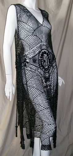 Elegant vintage 20s dress in beaded and sequined tabard style  with unique Egyptian Revival motif