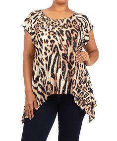Look at this #zulilyfind! Brown & Black Animal Sidetail Top - Plus by 1X 2X 3X & More #zulilyfinds