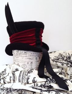 Gothic Raven Man's top hat mad hatter red band by Blackpin on Etsy