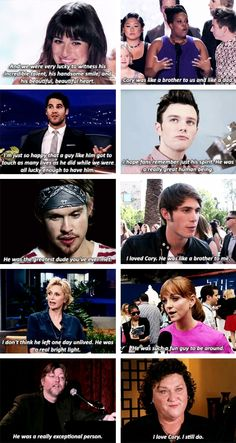 Glee cast talking about Cory