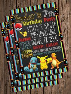 Pokemonchalkboard chalk board Pikachu Ash Squirtle Bulbasaur Charmander Birthday Invitation  Invite Birthdays- Personalized  Printables on Etsy, $8.99