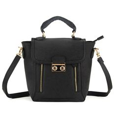 Zip Detail Fashion Handbag Shoulder Bag in Black