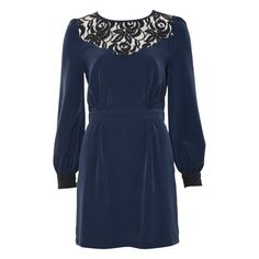 precious! Navy Lace Insert Dress