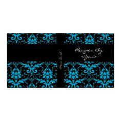 Turquoise and Black Damask Recipe Book Binder
