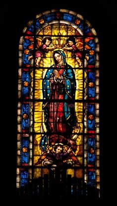Virgin of Guadalupe stained glass window (location unknown) Stained Glass Church, Stained Glass Art, Stained Glass Windows, Mosaic Glass, Stained Glass Tattoo, Blessed Mother Mary, Blessed Virgin Mary, Catholic Art, Religious Art