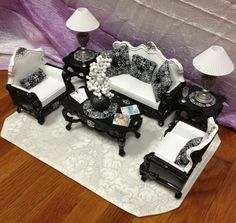 OOAK Barbie Monster High Living Room House Furniture Diorama Lot Pillows Lamps | eBay