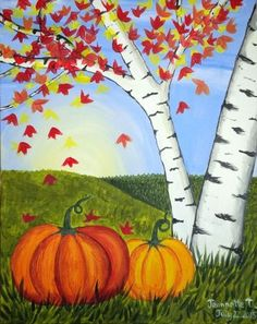 Learn to Paint Fall Pumpkins tonight at Paint Nite! Fall Canvas Painting, Autumn Painting, Autumn Art, Pumpkin Painting, Pumpkin Canvas, Heart Painting, Rock Painting, Painted Pumpkins, Painted Rocks