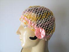 Crocheted Flapper Hat Boudoir Cap Vintage 1920s Lace Rosette Pink Yellow
