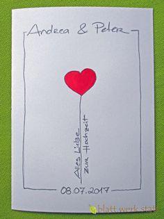 **Motiv: Herz am Band Hochwertige Klappkarte mit individuell auf deine Wünsche angepasster Gestaltung inclusive passenden Umschlägen. DIE ganz besondere Karte zur Hochzeit oder zur Verlobung - für...