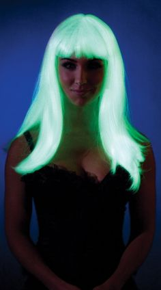 Glow In The Dark Wig with Bangs, Costume Wigs, Glow Wig