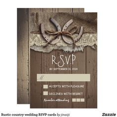 Rustic country wedding RSVP cards