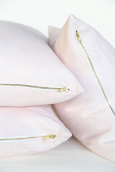 """blush pink pillows in linen and brass. Meet """" The Dovey"""" named after fabulous Toronto designer @christine"""