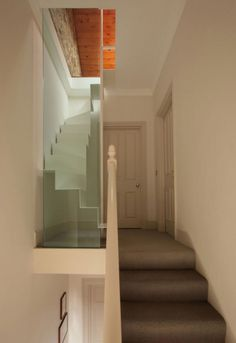 Archaic Space Saving Loft Staircase Design Featuring White Floating Treads  Andu2026
