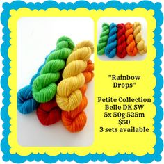 Rainbow Drops Petite Collection   Red Riding Hood Yarns Yellow And Brown, Orange Yellow, Blue, Ribbon Yarn, Red Riding Hood, Yarns, Sticks, Teal, Collections