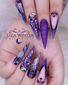 68 Beautiful Stiletto Nails Art Designs And Acrylic Nails Ideas 2020 - Lily Fashion Style Purple Acrylic Nails, Purple Nail Art, Purple Nail Designs, Summer Acrylic Nails, Best Acrylic Nails, Acrylic Nail Designs, Nail Art Designs, Bling Nails, Swag Nails