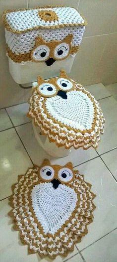 Crochet Hot Pads, Crochet Mat, Crochet Owls, Crochet Home, Crochet Doilies, Free Crochet, Owl Rug, Pinterest Crochet, Owl Crochet Patterns