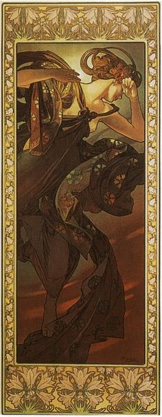 Alfonse Mucha, Evening Star, from The Moon And The Stars