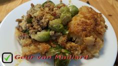 Ovenschotel spruiten met aardappel-uienpuree - Geur van Maillard - www.maillard.nl