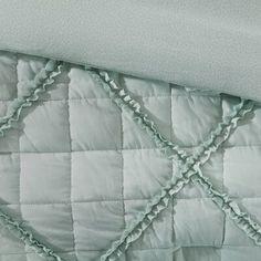 August Grove Spiritwood Lake Comforter Set | Birch Lane Queen Comforter Sets, Bedding Sets, Weighted Comforter, Fabric Manipulation Techniques, Aqua Bedding, Online Bedding Stores, Ruffle Pillow, European Pillows, Big Pillows