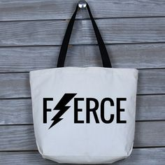 Canvas Tote, Canvas Tote Bag, Wide Tote Bag, Gym Bag, Canvas Bag, Fitness Tote, Gym Tote - Fierce Canvas Wide Tote Bag