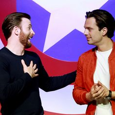 """Chris Evans and Sebastian Stan attend the press conference of """"Captain America: Civil War"""" on April 19, 2016 in Beijing, China."""