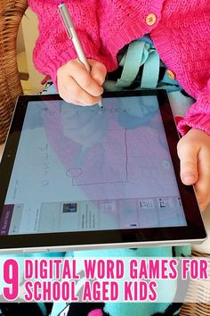 9 word games to play on a tablet with school aged kids. Great for spelling, sight word revision and reading.