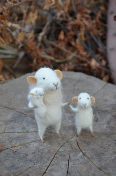 Little Family Mouse - unique - needle felted ornament animal, felting dreams made to order. $110.00, via Etsy.