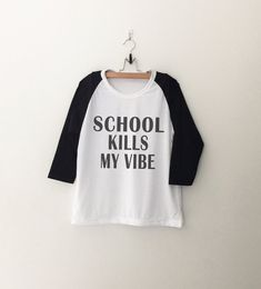 School Funny T Shirt Women Baseball Shirt Hipster by CozyGal