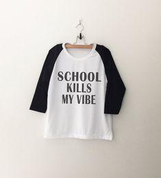 School Funny T Shirt Women Baseball Shirt Hipster by CozyGal
