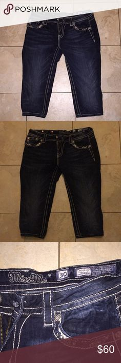 Miss me capris all the bling super sexy 8 inch rise 17 inch inseam 30 inch waist Miss Me Jeans