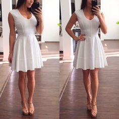 Off-White Dress Very ladylike off-white dress with gold zipper on the back. This dress is so feminine and flirty. The material is very stretchy.  Brand new with tags Bar III Dresses