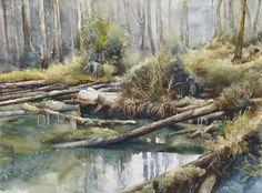 邓国强 高山沼泽地 56x76cm 2011 邓国强画中的沼泽地,是高山上的堰塞湖,湖中浮沉着许多朽木枯树,沼泽中杂草丛生。更令人感到奇特的是那些长年浸泡在水中的枯木林,还能生生不息地一直延生到森林深处。
