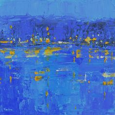Original abstract painting Blue abstract city by garimadesigns, $65.00
