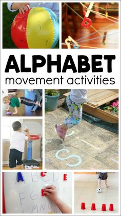 10 of the Best Alphabet Movement Activities Get the kids moving as they learn about letters! These alphabet movement activities are fun and engaging ways to teach letters in preschool and kindergarten. Preschool Movement Activities, Gross Motor Activities, Preschool Songs, Kindergarten Activities, Creative Activities, Activities For Kids, Physical Activities, Preschool Writing, Dementia Activities