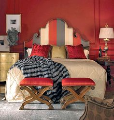 An upholstered head bored can add interest or a splash of color in just the right place.