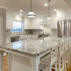 Kitchen Back Splash smoke glass subway tile | white shaker cabinets, shaker cabinets