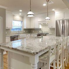 White Kitchen With Black Countertops Home Interior