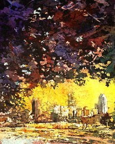 Watercolor batik painted in rice paper of downtown Raleigh, NC as viewed from Dorothy Dix Hospital