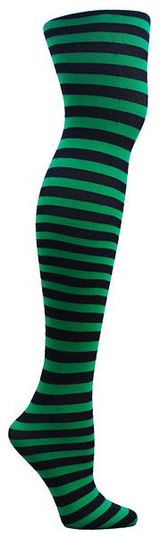 Green and black striped full length tights. One size fits most: 90-160 lbs.