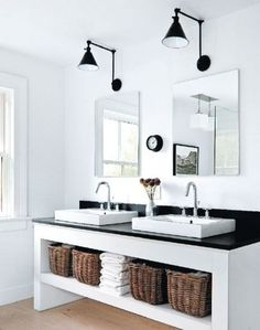 Clean white sleek bathroom double sink