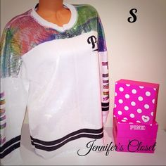 {Victoria Secret PINK} limited edition varsity 001 ❌NO TRADES ❌NO HOLDS ❌NO PP ✮ITEMS ARE 100% AUTHENTIC   ✮PLEASE DO NOT RATE ME BASED UPON FIT/SIZE OF YOUR ITEM. ASK FOR MEASUREMENTS OR PURCHASE AT YOUR OWN RISK✮ PINK Victoria's Secret Sweaters Crew & Scoop Necks