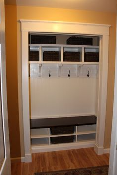 For the hallway closet upstairs closet mudroom - this is what our new mudroom closet will look like in a few… Closet Redo, Closet Remodel, Kid Closet, Closet Mudroom, Closet Ideas, Hallway Closet, Closet Doors, Basement Closet, Garage Closet