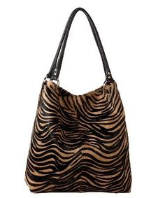 6660334fdcc2 Owen Barry Brown   Black Zebra Cappa Cowhide Slouch Shoulder Bag